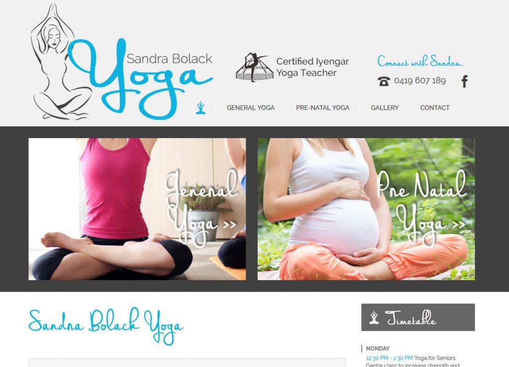 Sandra Bolack Yoga - Website Screenshot